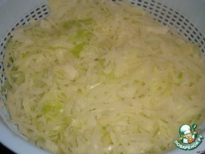 Fine chop the cabbage and boil in water until soft. Allow to dry in colander.