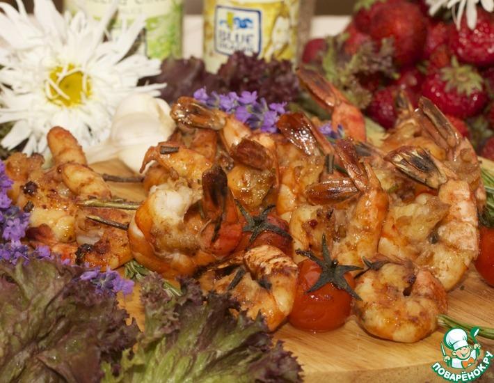 Рецепт: Креветки-гриль, маринованные в соевом соусе