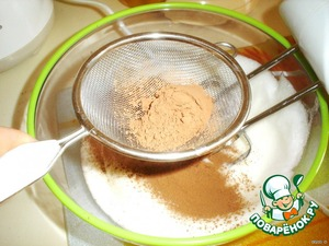 Add the cocoa to the proteins and sugar.