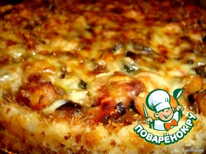 Spread the vegetables with chicken, sprinkle cheese and bake in the oven - 220 gr. 10 minutes.