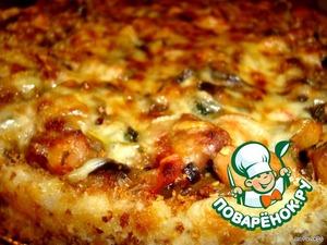 Выкладываем овощи с курицей, присыпаем сыром и запекаем в духовке - 220 гр. 10 минут.