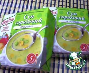 """Вскипятить бульон, всыпать не крупно порезанную картошку.    Лук и морковь подзолотить на оливковом масле.    Я пользуюсь вот таким вот концентратом без добавок """"Тетя Соня"""". Суп получается всегда"""