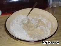 Add flour so that the dough has thickened.