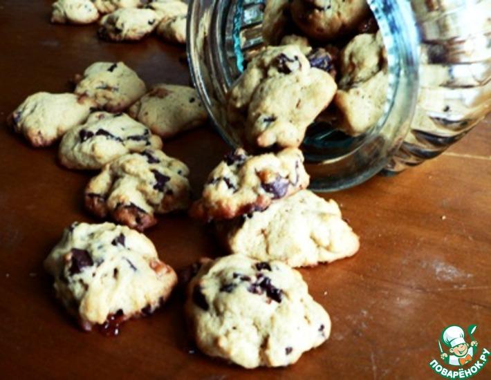 Рецепт: Печенье с шоколадной и карамельной крошкой