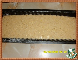 Pour the batter into a greased and flour rectangular precupanu(28х18 cm) or square(20.5 x 20.5 cm).