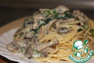 Рецепт: Спагетти с грибами, спаржей и шпинатом