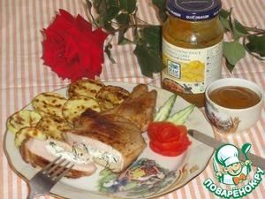Рецепт Сочная котлета гриль на косточке с начинкой из творожного сыра под маринадом от Blue Dragon