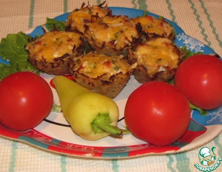 Рецепт: Тарталетки из картофеля с куриным филе