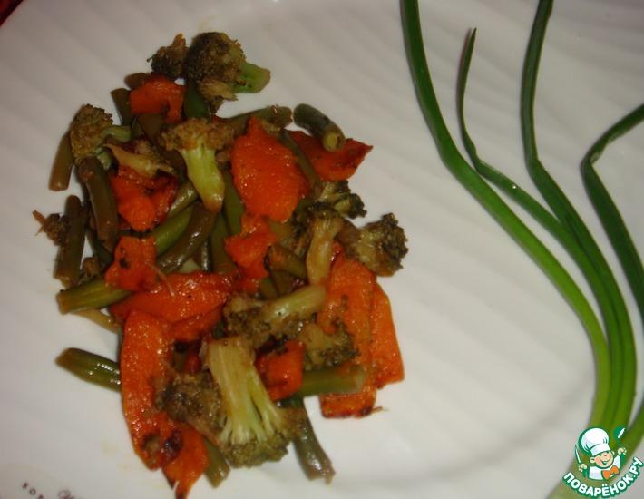 Рецепт: Запеченная тыква с брокколи и фасолью