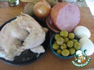 Подготовить ингредиенты   Сварить курицу, картошку, яйца