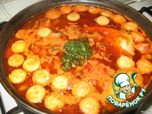 When potatoes are tender, add to the pot of cucumbers with the liquid and vegetables with tomato.