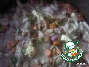 Add the onion, carrots. I added minced chicken, but it is possible and without meat - so good! Salt the first time, sprinkle with sliced garlic.(For fans of very sharp can добавить1/part 4 hot peppers, chopped.)