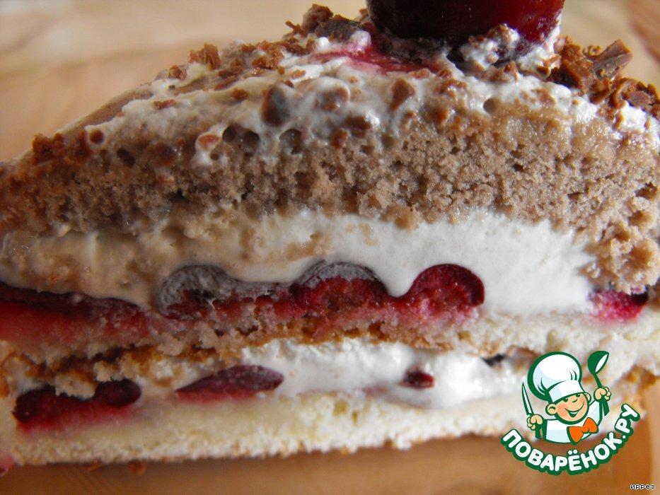 Торт-мороженое со свежей вишней