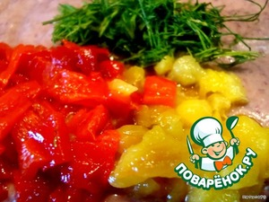Peppers remove skin, chop finely. Herbs also finely chop. Gently mix all with beans.