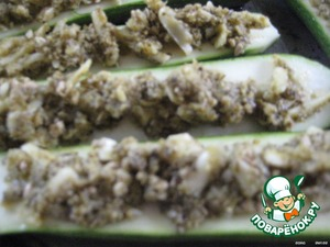 ... spread on zucchini halves,