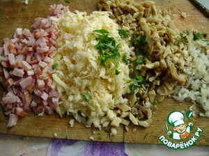 Ham,onion and parsley to chop,cheese to grate.Mayonnaise and full spread on slice of pineapple.