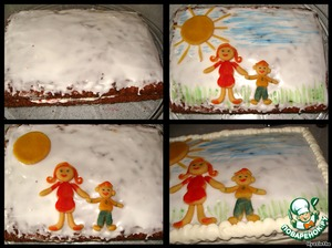 So.   While the glaze is not frozen put the figures slightly pressed against the surface of the cake.  The sky and the grass I just painted with a brush.   Daubed the edges with remnants of butter and cream from the syringe, draw a frame (zamaskirovalis all the flaws :) )