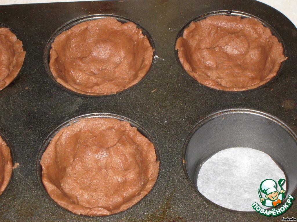 Тарталетки шоколадные с мармеладно-рисовым кремом