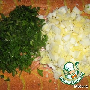 Eggs cut into cubes, parsley to chop.