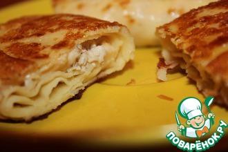 Рецепт: Вкуснейшие блинчики с курицей и сыром
