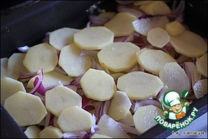 Cut into thin slices the potatoes and start to lay it on a buttered baking sheet.  After it is lined with a layer, season with salt and pepper, put the sliced onion half rings, and on top of again arrange a layer of potatoes. Again, season with salt and pepper.