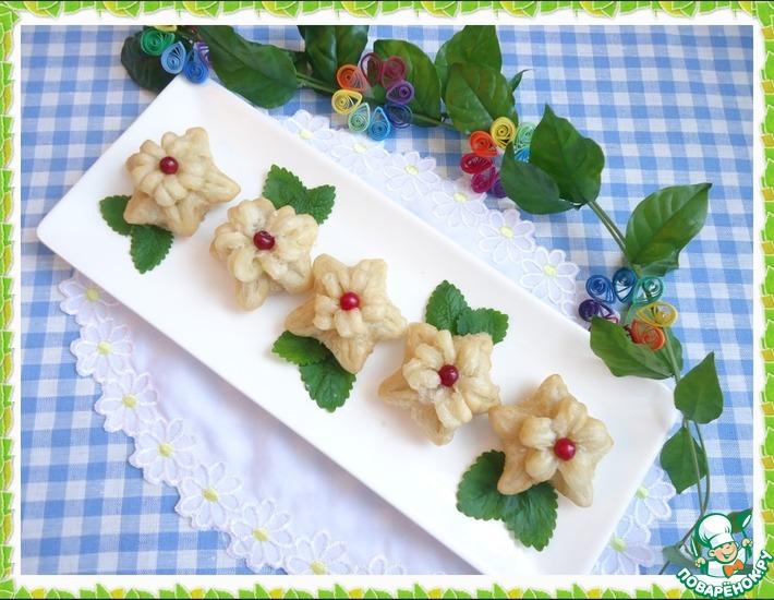 Цветы из слоеного теста – кулинарный рецепт