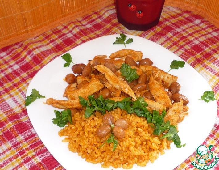 Рецепт: Куриное филе с фасолью