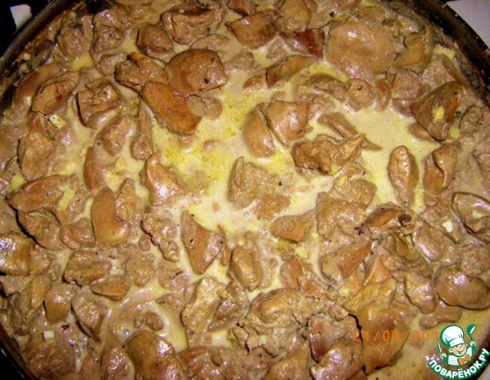 Рецепт: Куриная печень с имбирем