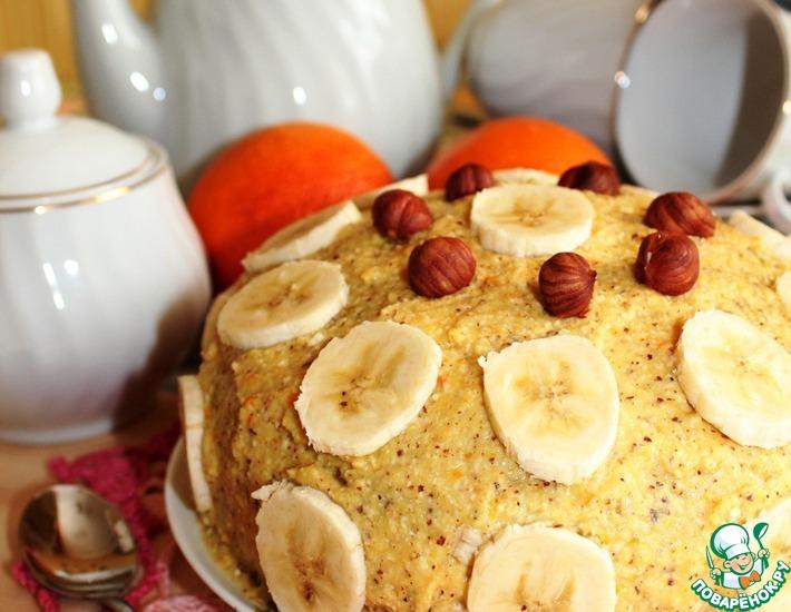 Рецепт: Апельсиновый торт с орехами и бананом постный