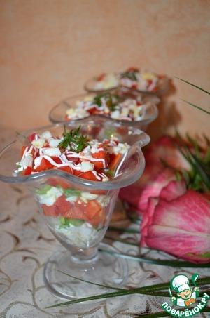Рецепт Салат с болгарским перцем, яйцом и зеленым луком