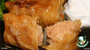 Stuffed cabbage in a light vegetable sauce