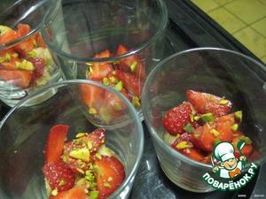 In dessert cups, add pistachios,