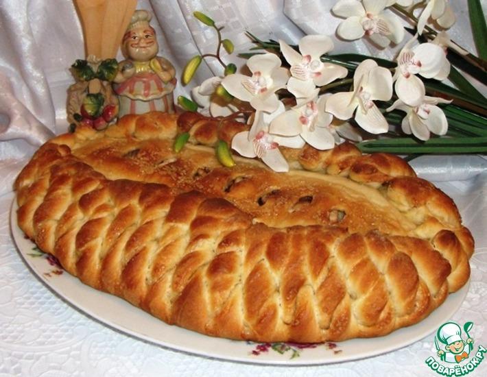 Рецепт: Постный пирог с яблоками и грецкими орехами
