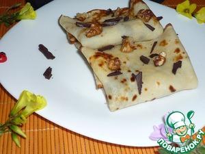 Рецепт Блинчики с шоколадом и грецким орехом