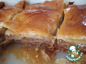 """Ready """"baklava"""" take out from oven and pour honey-lemon syrup.  Eat chilled.   Bon appetit!"""