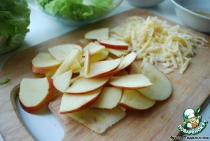 Apple cut into thin slices, sprinkle with lemon juice to avoid darkening.  Cheese to grate on a coarse grater.