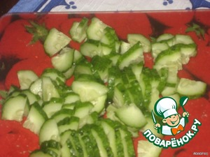 Cucumber cut into small slices.