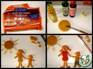 Yet baked in the cake, I made from marzipan mass figures and painted them with food coloring.