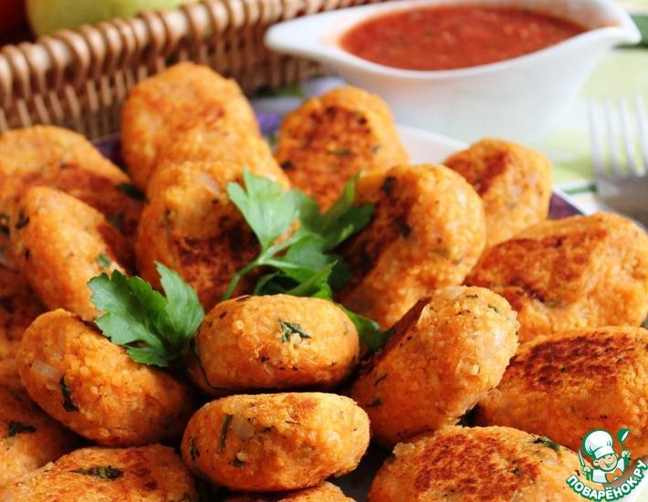 Рецепт: Котлеты из чечевицы и кус-куса с томатным соусом