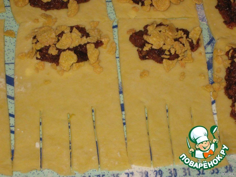 Хрупкое печенье на вине с орехово-шоколадной начинкой