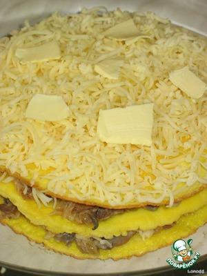 Второй слой такой же. А на третий кладем только сыр и несколько пластинок сливочного масла.