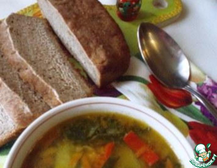 Рецепт: Легкий мясной супчик из шпината и болгарского перца