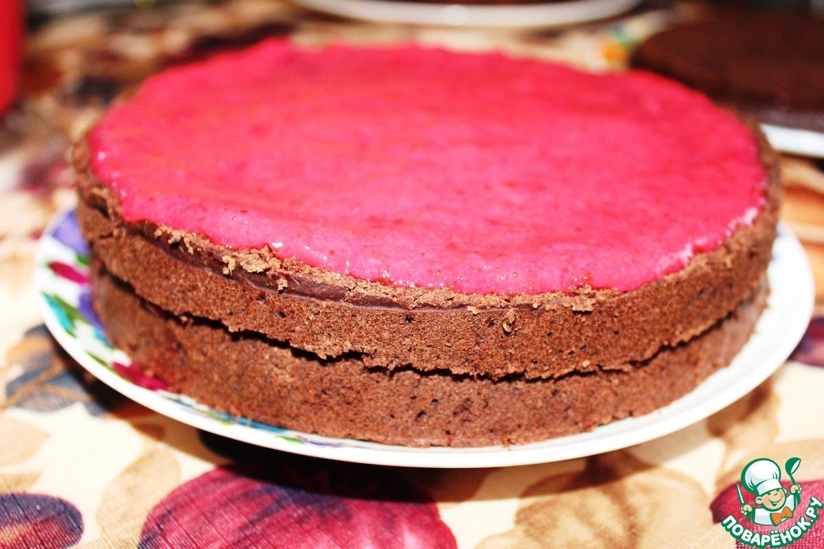 Шоколадно-брусничный торт постный