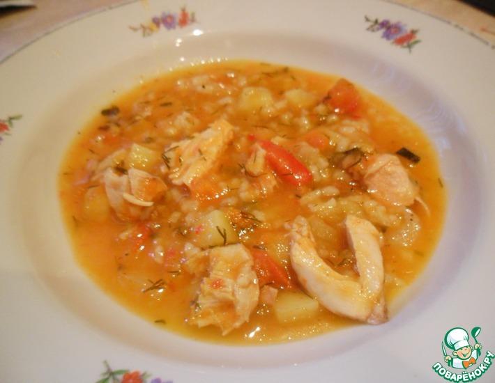 Рецепт: Суп рисовый на курином бульоне
