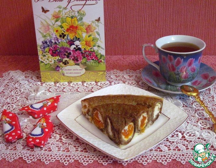Рецепт: Блинчатый пирог с творогом и курагой