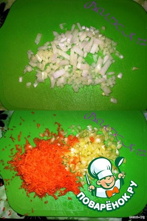 Finely cut onion, pepper, carrot Trou on a fine grater