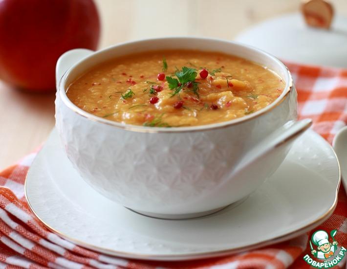 Рецепт: Тыквенно-морковный суп с яблоком и чечевицей