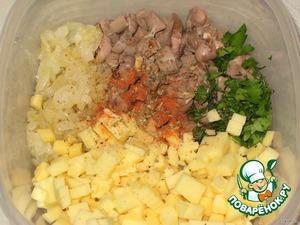 Смешать сердечки, сыр, жареный лук, зелень и все специи.