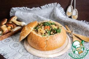 Рецепт: Густой хлебный суп с фасолью и грибами