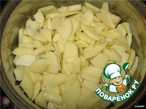 Cut the potato like You used to. Rinse under cold running water excess starch. Put in the broth